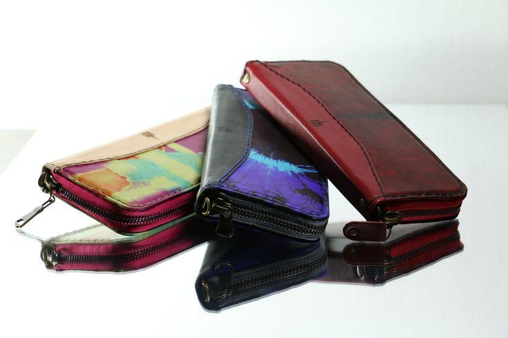 Billeteras hecha a mano en cuero, decoradas con la técnica Batik. Dimensiones: 20cm x 9,5cm x 2cm
