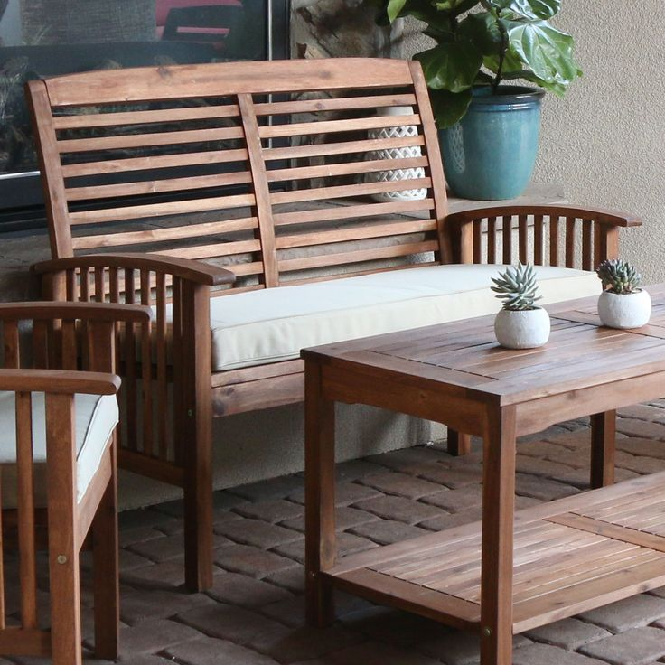 Provide additional seating on your deck, patio or garden with this wood outdoor loveseat. The solid acacia wood delivers durable, beautiful seating that will last summers to come. Pair it with our mat