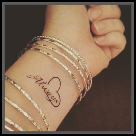 Quote fake tattoo quote word tattoo temporary tattoo always tattoo heart fake tattoo inspirational tattoo