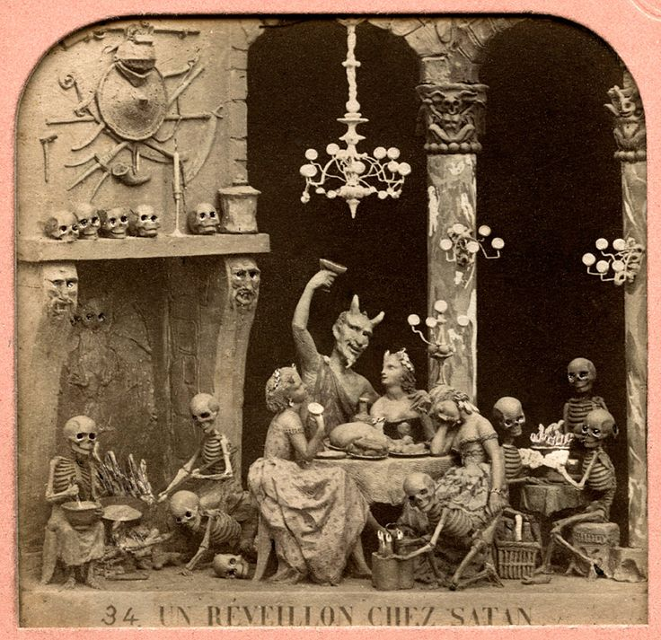 "This is one of the ""Diableries"", a series of stereoscopic photographs, created in Paris from the 1860s through to 1900, depicting satirical scenes of life in Hell. Sculpted clay vignettes were photographed with a stereo camera, and when viewed through a stereoscope, produced a magical 3D effect. To see more of this collection of amazing works of art, you can visit The London Stereoscopic Company's website:  http://www.londonstereo.com/diableries/index.html"