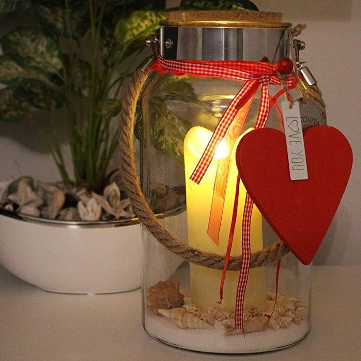 Dekovita Valentinstag Geschenk 30cm Dekoglas Mit 18cm Tronje Outdoor Kerze  Weiß Dekosand Herz: Rot