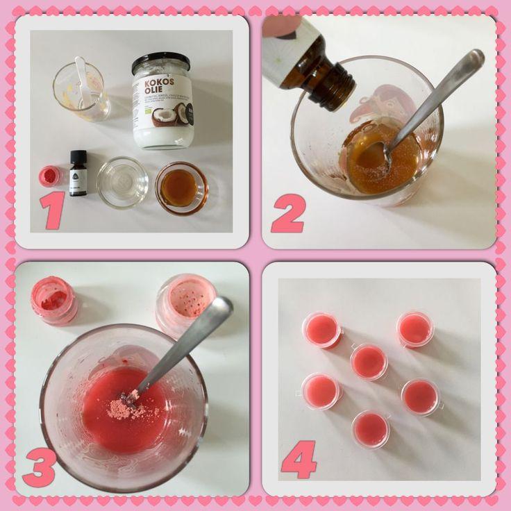 Moederdag: Zelf lippenbalsem maken. In sambalpotjes een leuk cadeautje.  AK
