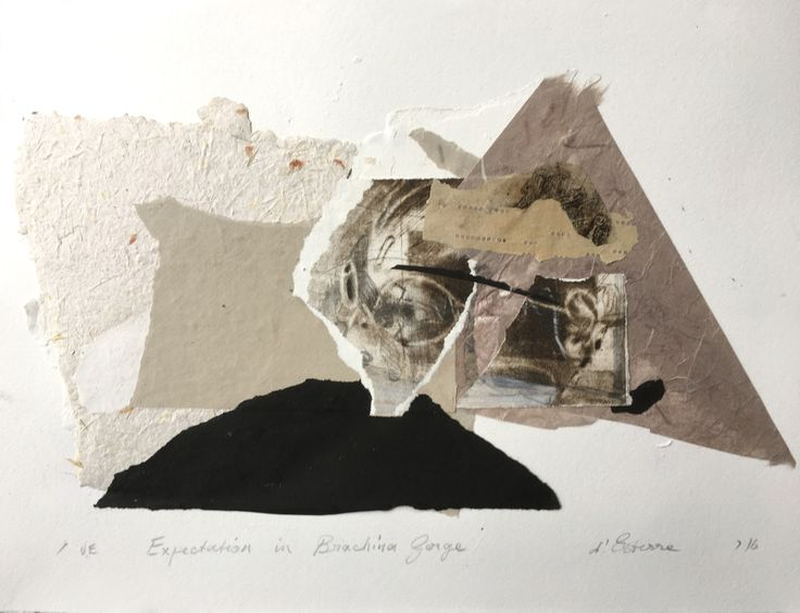 ELAINE d'ESTERRE - Expectation in Brachina Gorge, 2016, etching collage, 30x42 cm. Also at http://www.facebook.com/elainedesterreart/ and  http://instagram.com/desterreart/