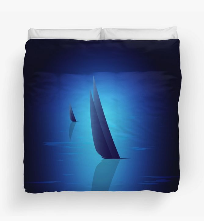 """Unique and warm, """"Night Sail"""" Duvet Cover by Steel Graphics"""