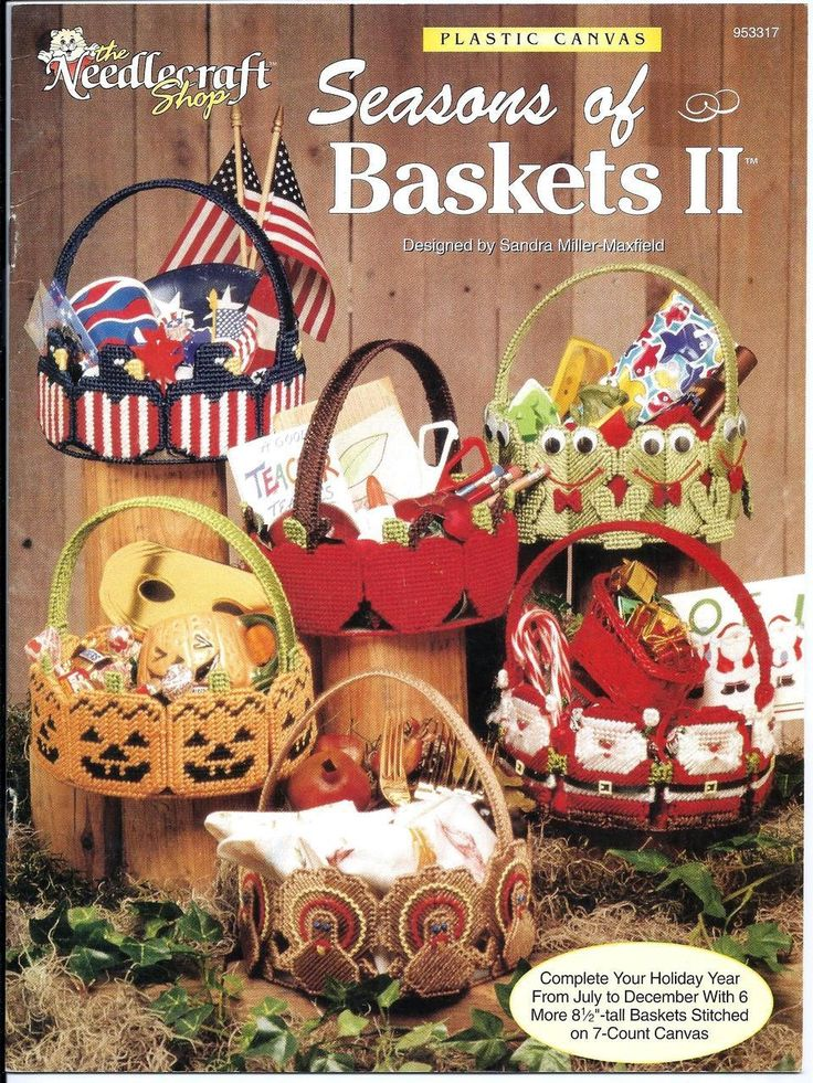 """Complete your Holiday year from July to December with easy 8 1/2""""-tall baskets stitched on 7-count plastic canvas."""