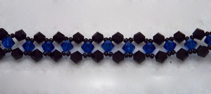 Swarovski Crystal Thin Blue Line Bracelet by CreationsbyLuforYou on Etsy