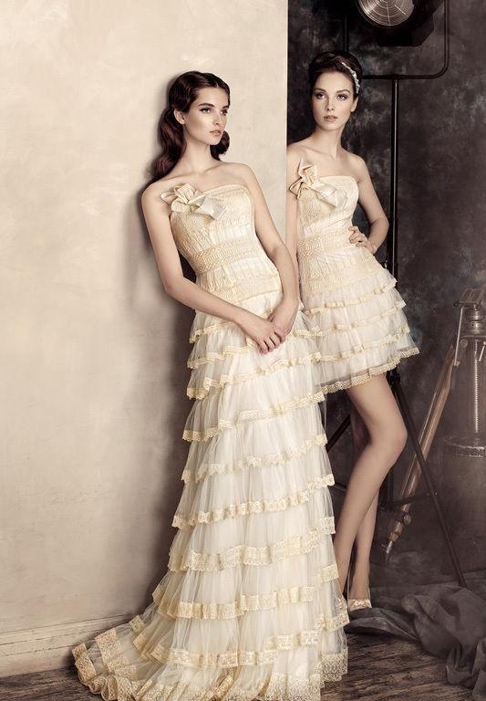 Robes de mariée bustier longue et courte ruchées