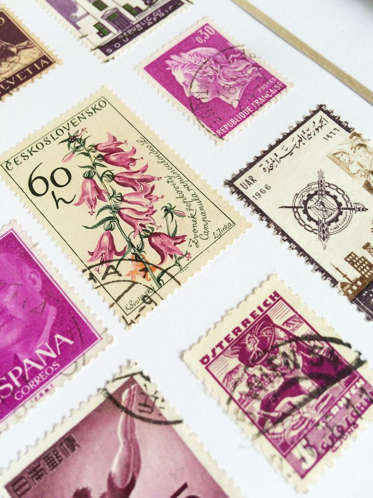 Vintage Framed Stamp Wall Art - Violet