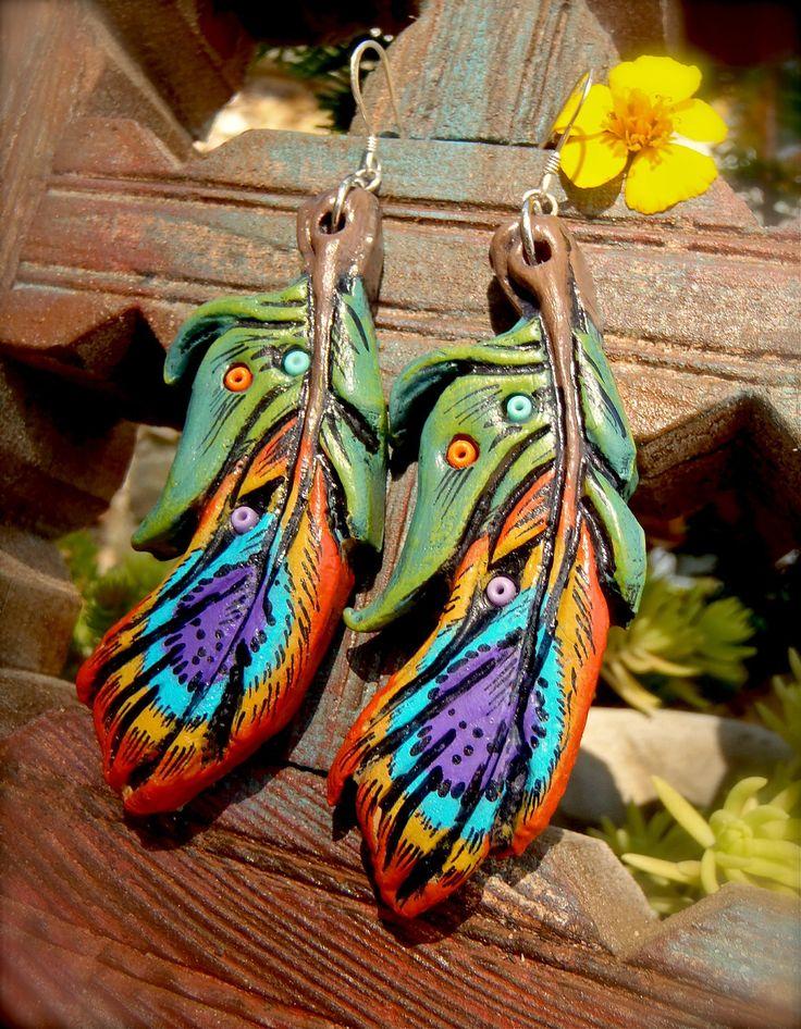 PEACOCK FEATHER EARRINGS Clay earrings long earrings