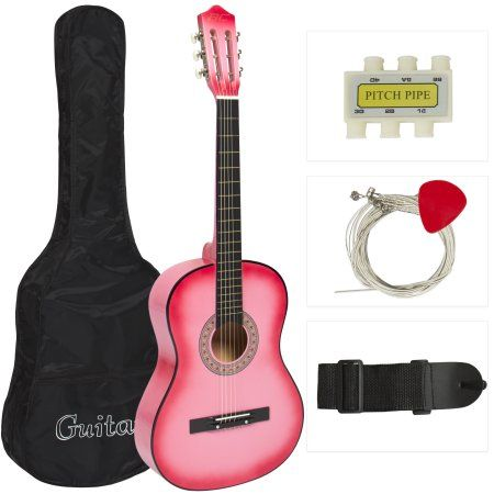 New Beginners Acoustic Guitar With Guitar Case, Strap, Tuner and Pick Pink - Walmart.com