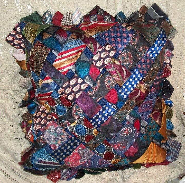 pillow made from old ties   Necktie quilt, Tie quilt, Tie ...