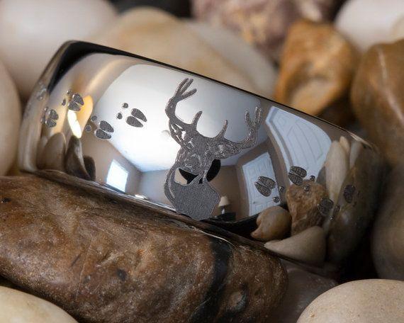 Deer Hunting Wedding Rings | Tungsten Ring 10mm Dome Hunting Buck & Deer Track Design on Etsy, $49 ...