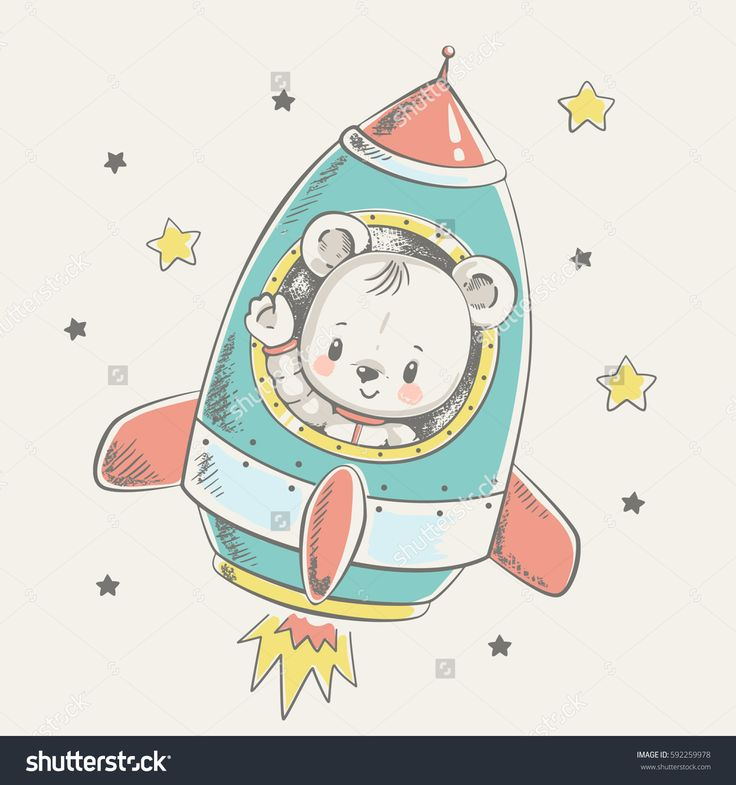 Cute little bear flying in a rocket cartoon hand drawn vector illustration. Can be used for baby t-shirt print, fashion print design, kids wear, baby shower celebration greeting and invitation card.