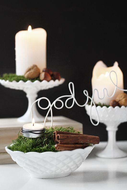 Very pretty candles with milk glass holdersTrendenser.se - en av Sveriges största inredningsbloggar