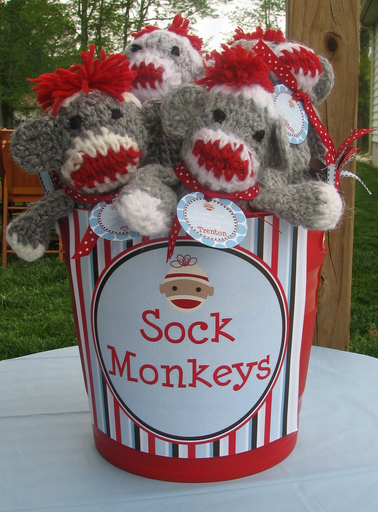 Sock Monkey Party: Party Favors, Monkeys Parties Favors, Sock Monkeys, 1St Birthday, Snack Foods, Baby Girls, Parties Ideas, Socks Monkeys Birthday Favors, Party Ideas