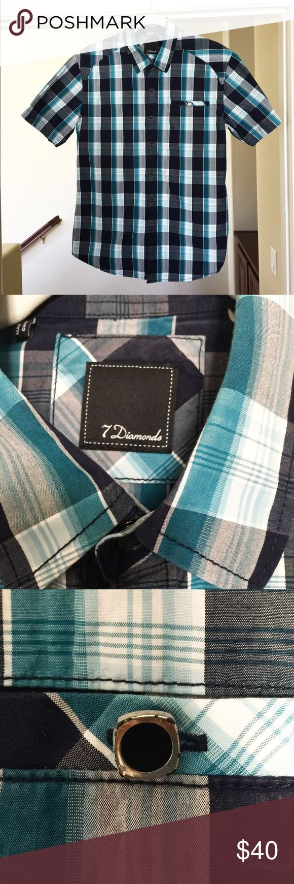 7DIAMONDS Button Down Shirt A sharp looking button down, great for summer. Gently worn, the only imperfection is the button on the shirt is a bit distressed, as seen in photo. 7 Diamonds Shirts Casual Button Down Shirts