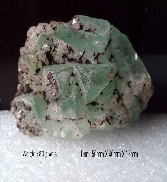 Green Apophyllite Crystal Quartz with Stilbite by VNDGems on Etsy