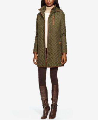 This traditional diamond quilted coat from Lauren Ralph Lauren features a detachable hood and stylish allover faux suede trim. | Shell, lining, fill, faux-suede trim: polyester | Machine washable | Im