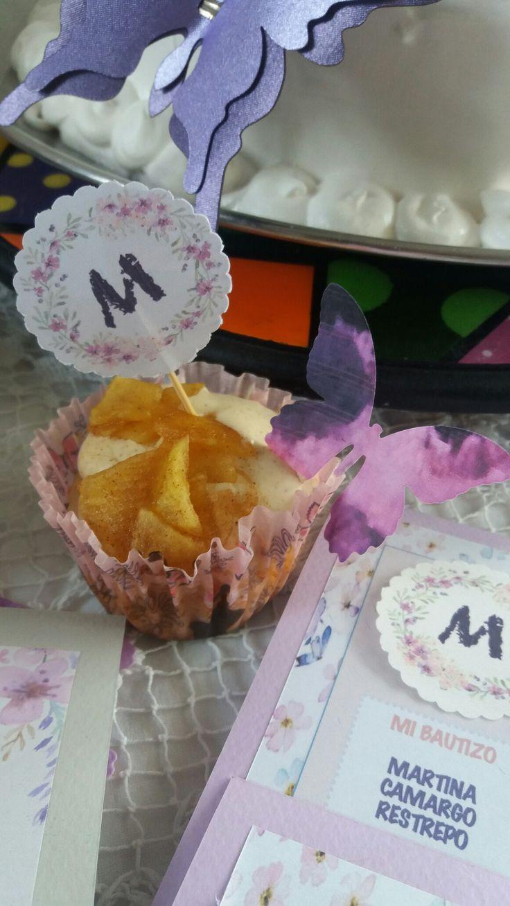 Cupcake manzana + mariposa pafolio