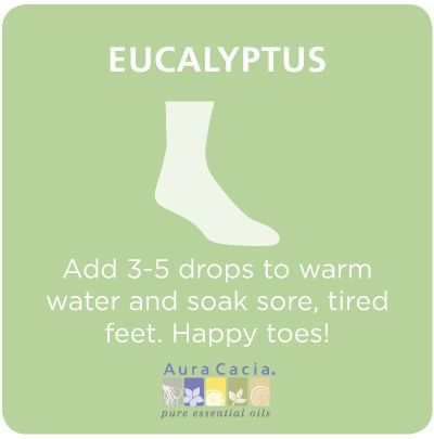 Use Eucalyptus Essential Oil for Sore Feet Relief: http://www.survivalistalerts.com/use-eucalyptus-essential-oil-for-sore-feet-relief/
