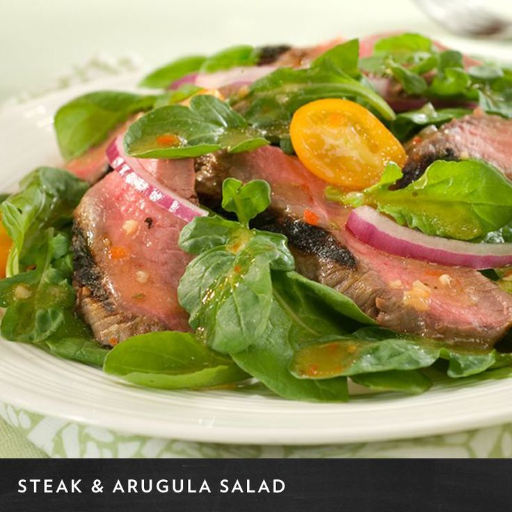 Create a robust Steak & Arugula Salad by using Wish-Bone Robusto ...