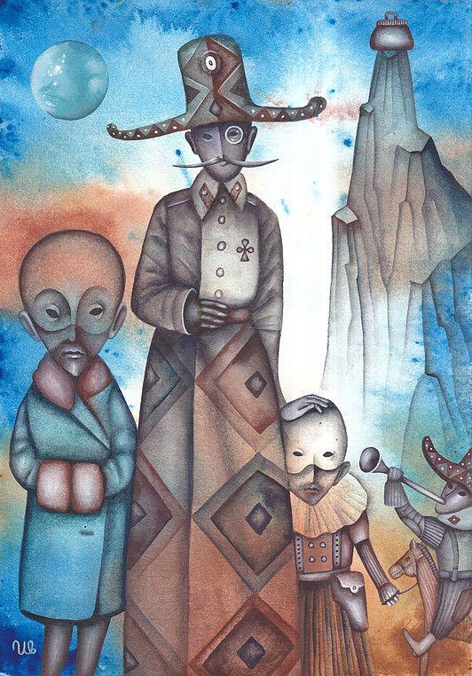 A Circus Family by Eugene Ivanov #cirque #circus #clown #clownery #illustration #eugeneivanov #@eugene_1_ivanov