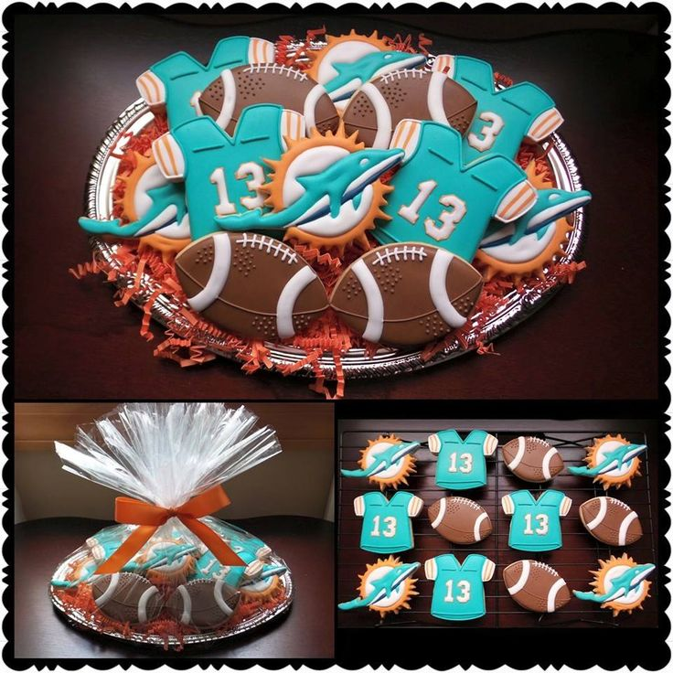 Miami Dolphins Logo Dan Marino Jersey Football Cookie Platter