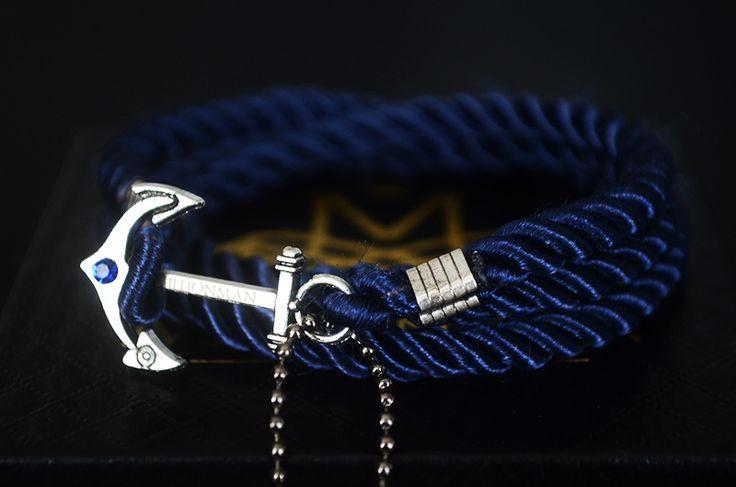 Midnight Blue Anchor Rope Bracelet.