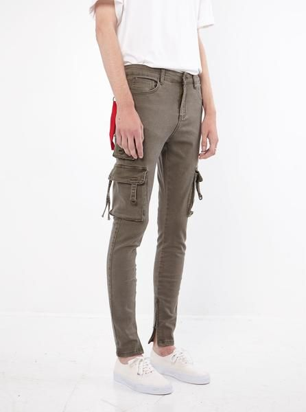 D-Ring Cargo Jeans in Faded Olive