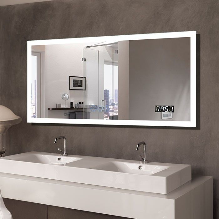 The Stunning Design Of This Wall Mounted Led Mirror Is Both Modern And Timeless The Two Tone Led Lig Bathroom Mirror Lights Led Mirror Bathroom Backlit Mirror