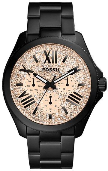 Fossil 'Cecile' Pavé Dial Multifunction Bracelet Watch, 40mm, Pavé crystals shimmer and shine on the multi-function dial of a glamorous bracelet watch finished with a finely notched bezel.