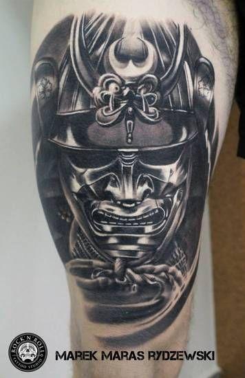 Samurai Helmet Tattoo by Marek Maras Rydzewski