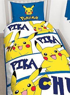 Linge de lit enfant - Parure de lit réversible 'Pikachu' 1 personne  - Kiabi