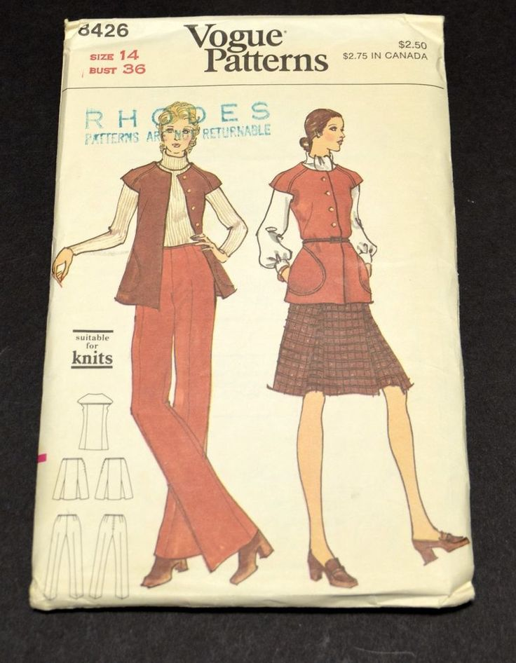VTG VOGUE 8426 UNCUT Misses Sz 14 Dress Jacket Pants Skirt PATTERN Factory Fold