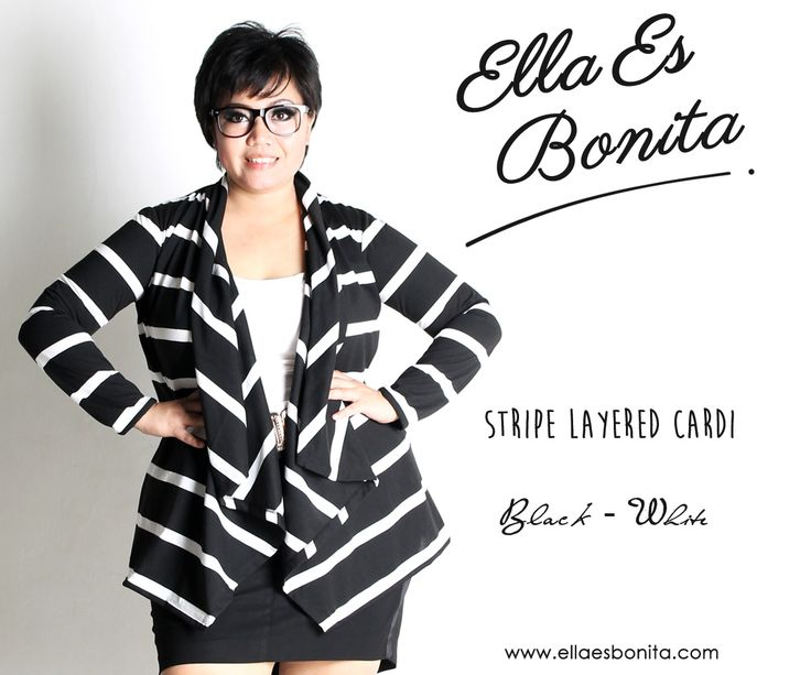 Stripe Layered Cardi - This cardigan features high quality non stretch jersey which specially designed for sophisticated curvy women originally made by Indonesian Designer & Local Brand: Ella Es Bonita. Available at www.ellaesbonita.com