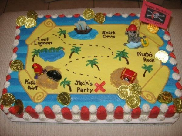 Pirate treasure map cake. The pirate candles used are widely available.