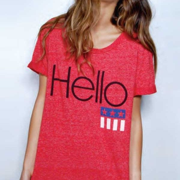 Rebel Yell Hello Crew Neck in Red by Rebel Yell