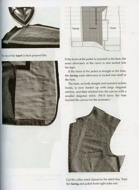 """from """"Classic Tailoring Techniques for Menswear: A Construction Guide,"""" by Roberto Cabrera. Made by Hand- the great Sartorial Debate"""