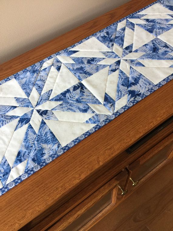 Christmas Winter Blue & Silver Quilted Table by countrysewing4U
