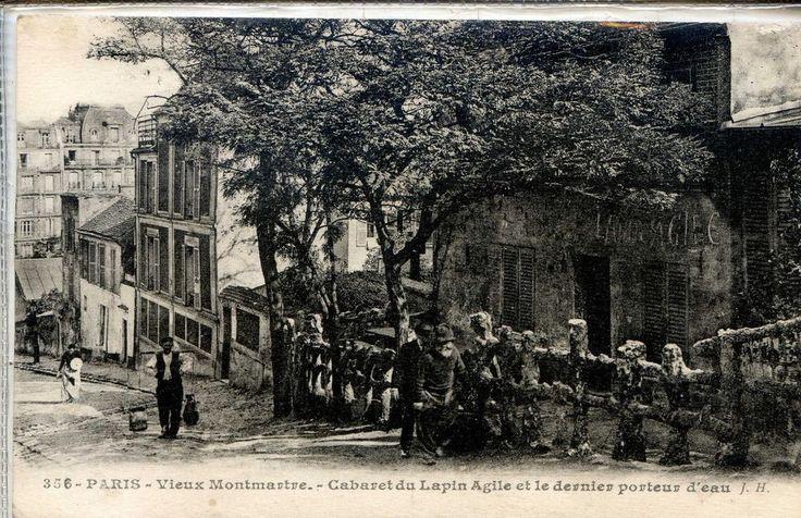 CP 75 Paris - Cabaret du Lapin Agile et le dernier porteur d'eau (shows freddy outside)