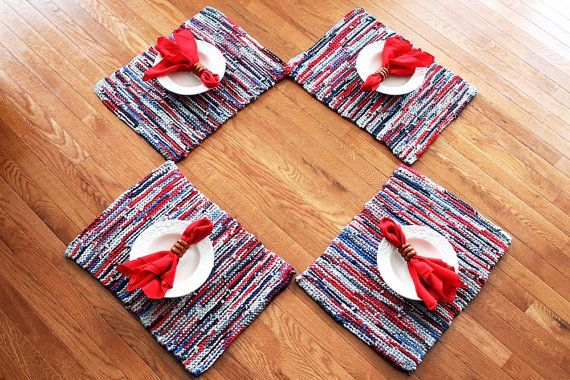 Crisp, nautical-inspired colors give our set of hand-knitted #placemats a classic look. Nautical Placemats Americana Artisan Knitted by HandiworkinGirls