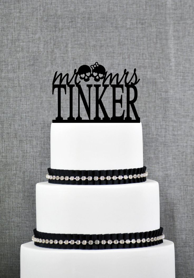 New to ChicagoFactory on Etsy: Mr and Mrs Skulls Last Name Wedding Cake Topper Unique Personalized Wedding Cake Topper Custom Mr and Mrs Wedding Cake Toppers - (S271) (25.00 USD)