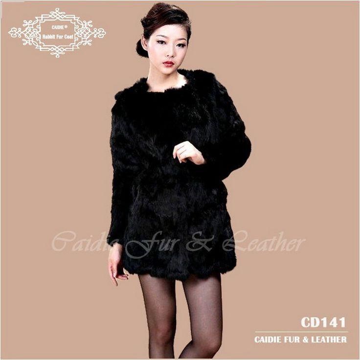 Free Shipping CD141 Genuine Rabbit Fur Coat For Women Wholesale Retail Winter Warm Long Rabbit Fur Jacket