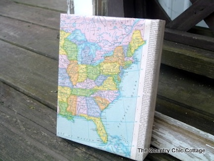 50 best map gift ideascrafts images on pinterest maps map crafts map canvas use mod podge and gift wrap style folding to refurbish an old canvas gumiabroncs Gallery