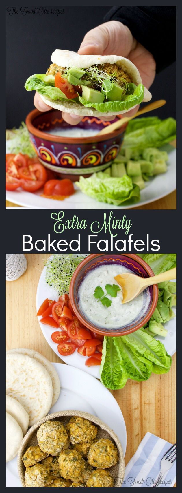 Extra Minty baked Falafel, as its name says, is a super refreshing vegetarian bite with a extra fresh touch. Served with mini pita breads, a low fat extra cucumber tzatziki and some extras of avocado, tomato, lettuce and onion sprouts. A healthy to the core vegetarian dish! #falafel #chickpeas #vegetarian