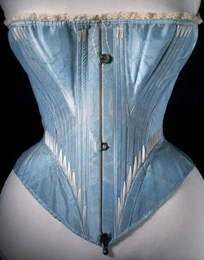 Corset (front view), blue silk stiffened with whalebone, possibly English or French, 1864