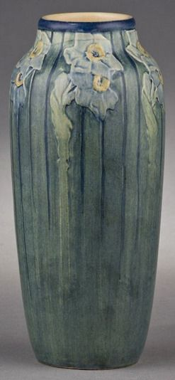 pottery & porcelain, Louisiana, A Newcomb College pottery vase decorated by Sadie Irvine, low relief carved jonquil design with a semi-matte...