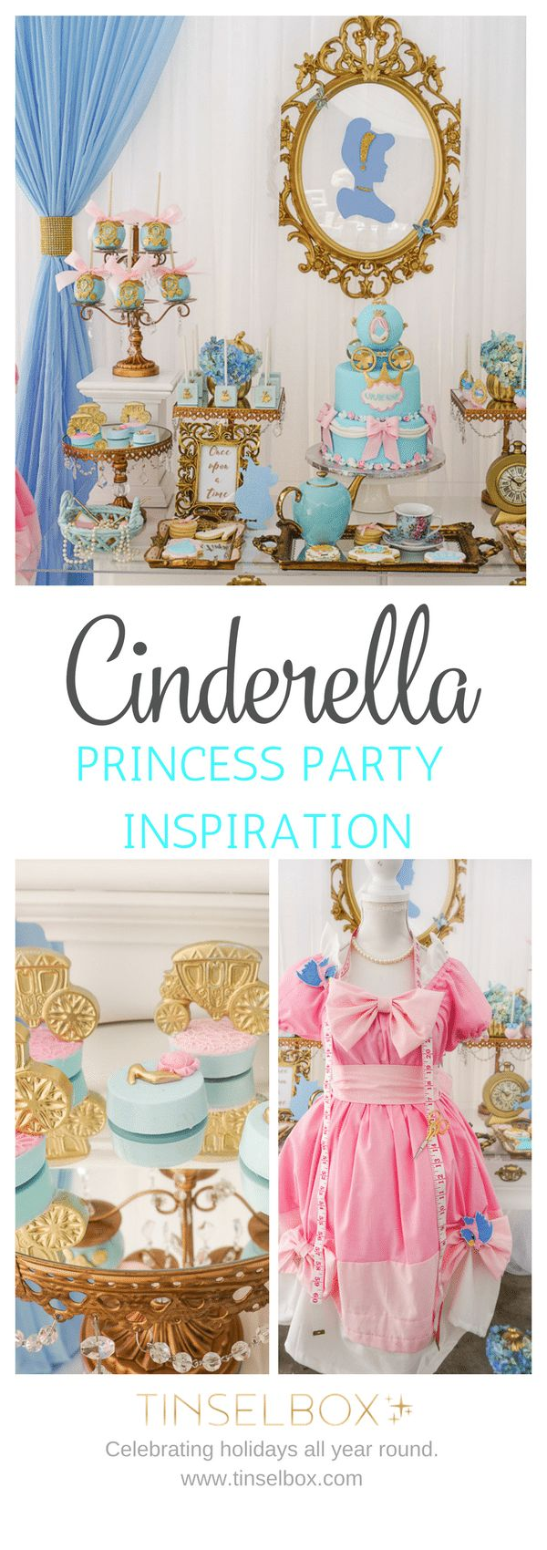 This Cinderella party is perfect for any princess. The details, the desserts, the cake and all the styling makes this party so unique.
