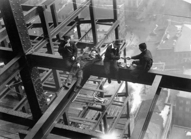 Charles C Ebbets, photographer.  Brave construction workers on break in NYC, circa 1931.