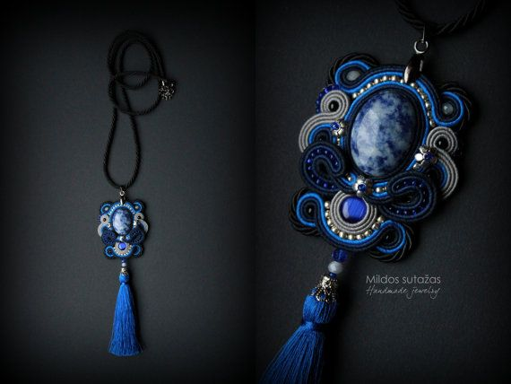 Handmade soutache necklace and earrings by Mildossutazas on Etsy